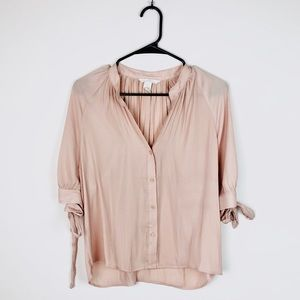 H&M Tie Sleeve Striped Blouse E7